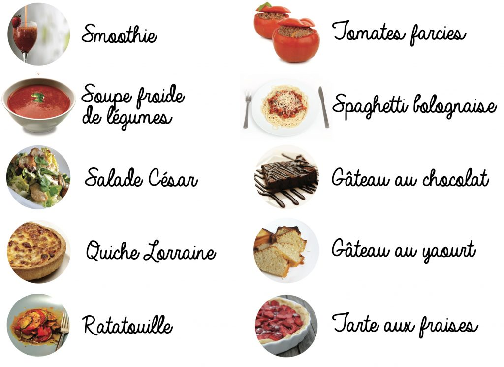 Smoothie Soupe froide, salade césar, quiche lorraine, ratatouille, tomates farcçies, spaghetti bolognaise, gâteau au chocolat, gâteau au yaourt, tarte aux fraises.